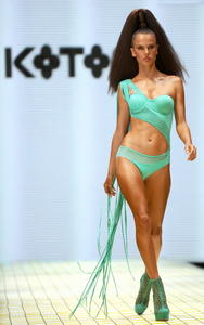 Alessandra Ambrosio sexy bikini koton beachwear show during istanbul fashion week